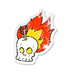 Retro distressed sticker of a cartoon skull with vector