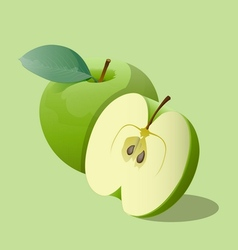 Ripe green apples vector