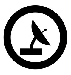 Satellite icon black color in circle vector