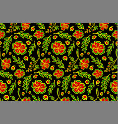 seamless floral pattern with stylized red flowers vector image