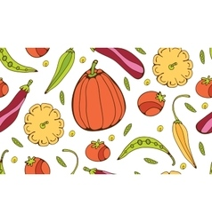 Seamless pattern with hand drawn vegetables vector