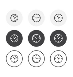 set 3 simple design time icons rounded vector image