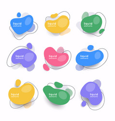 Set abstract liquid shape abstract banners vector