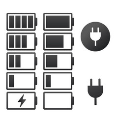 set battery charge indicator icons isolated on vector image