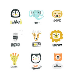Set cute animal icons vector