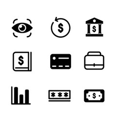 set fintech icon collection design isolated vector image