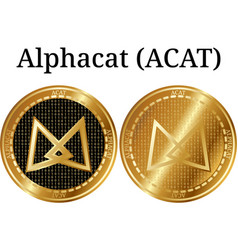 Set of physical golden coin alphacat acat vector
