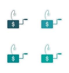 Set of stylish sticker on paper Economic icon logo vector image