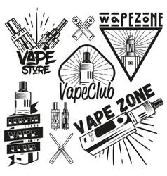 Set of vape shop labels in vintage style vector