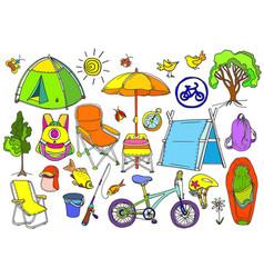 Set picnic color vector