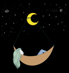 she is dreaming in a new world fantasy world vector image