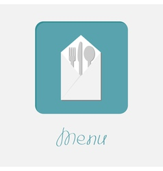 Silver fork knife spoon napkin icon Menu cover vector image