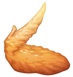 Single fried chicken wing vector