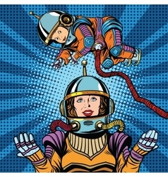 Space astronaut mother and newborn baby vector