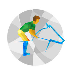 Sportsman and horse with abstract patterns vector