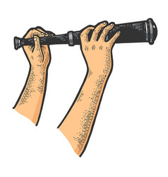 Spyglass monocular in hands sketch vector