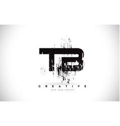 Tb t b grunge brush letter logo design in black vector