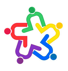 Teamwork clip hug logo vector