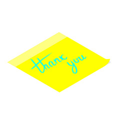 thank you handwritten inscription on yellow vector image