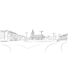 Town Square and historic building vector image