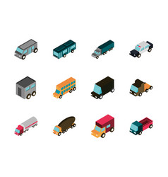 transport car truck vehicles isometric icons set vector image