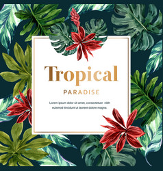 Tropical-themed frame design with monstera leaves vector