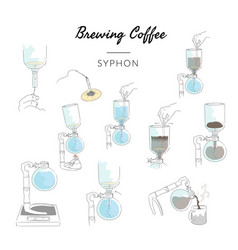 Types brewing coffee method syphon vector