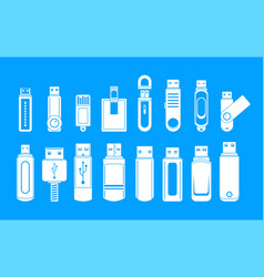 usb flash drive icons set simple style vector image