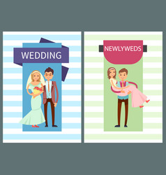 Wedding and newlyweds set vector