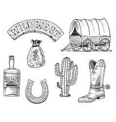 Wild west rodeo show sheriff cowboy or indians vector