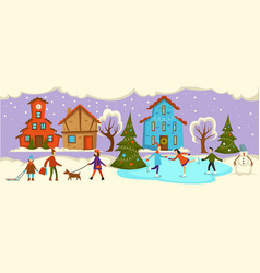 Winter street with people on holiday couples vector