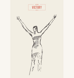 woman hands up victory glory drawn sketch vector image
