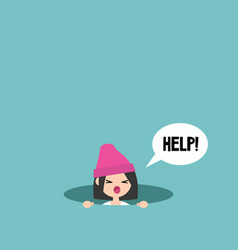 Young girl calling for help in the pit editable vector