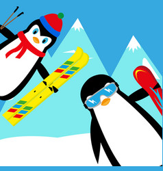 cartoon penguins snowboarder and skier vector image