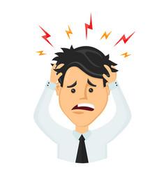 flat man businessman with a headache vector image vector image