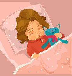 little smiling baby girl character sleeping vector image vector image