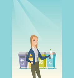 Woman throwing away plastic bottle vector
