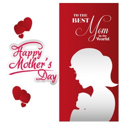 poster mothers day best mom silhouette woman vector image