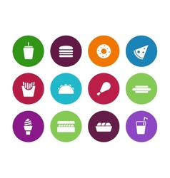 Fast food circle icons on white background vector image