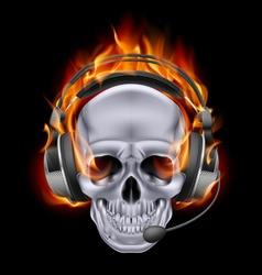 Flaming Chrome metal Skull with headphones speak vector image vector image