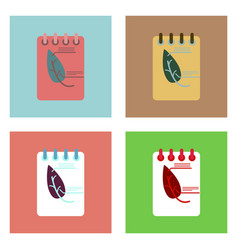 Flat icon design collection notebook and leaf vector