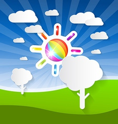 Summer Landscape with Colorful Sun Paper Tr vector image vector image