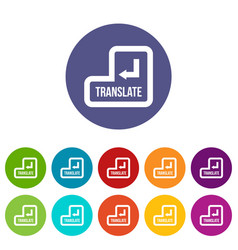 translate button set icons vector image vector image