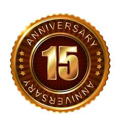 15 years anniversary golden brown label vector image
