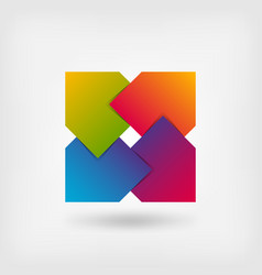 abstract square symbol in rainbow colors vector image