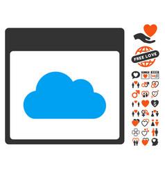 cloud calendar page icon with love bonus vector image