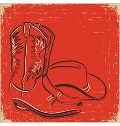 Cowboy boots and western hat Sketch on red vector image vector image