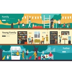 Family Young Father flat interior outdoor concept vector image