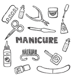 Manicure and pedicure doodle set isolated on a vector