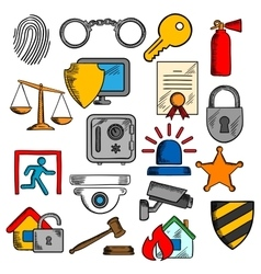Security safety and protection icons vector image vector image